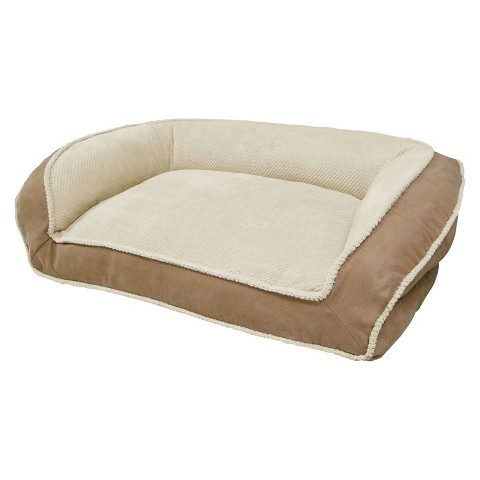 Paws and Claws Micro Suede Couch Style Bolster Bed - Tan