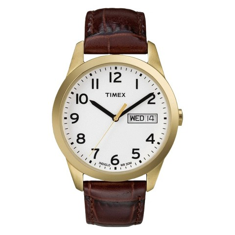 Men's Timex® Leather Watch - Brown