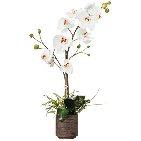 """Floral Table Arrangement White Orchid - 24"""""""
