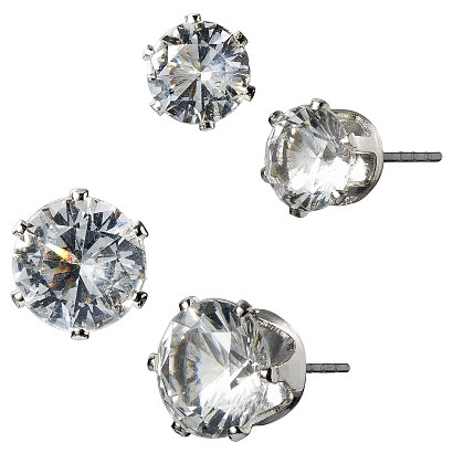Clear Poly/Stone Round Stud Earring Duo - Silver