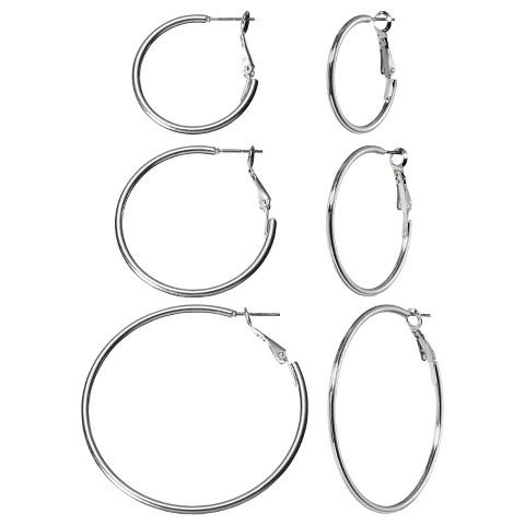Multi Hoop Earring Trio - Silver