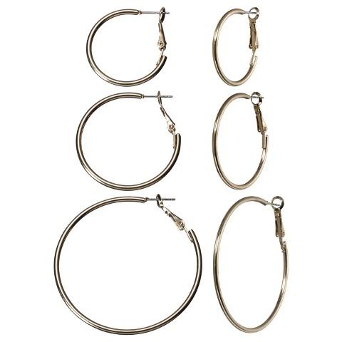 Multi Hoop Earring Trio - Gold