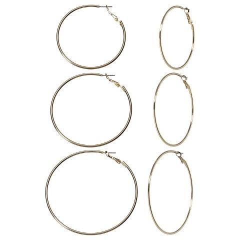 Large Hoop Earring Trio - Gold