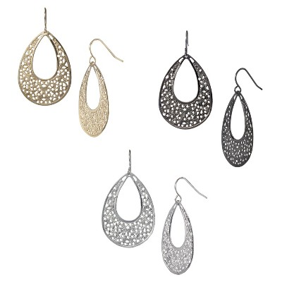 3-Pack Filigree Teardrop Hoop Earrings - Mixed Metal