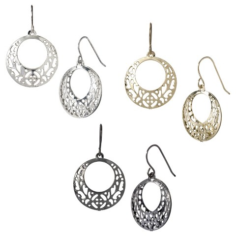 Filigree Disc Drop Earrings - Mixed Metal