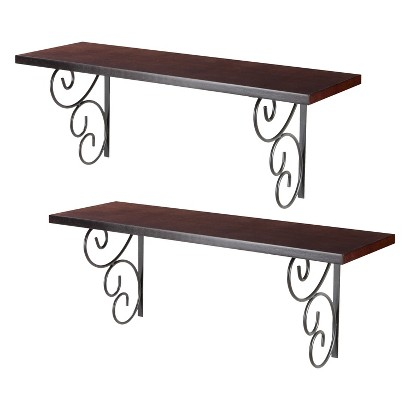 2pc Wall Shelf with metal bracket set- Espresso