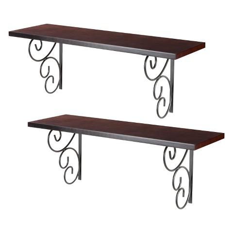 2pc Wall Shelf with metal bracket set- Espresso
