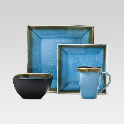 Threshold™ Elemental Ocean 16 Piece Stoneware Dinnerware Set - Blue