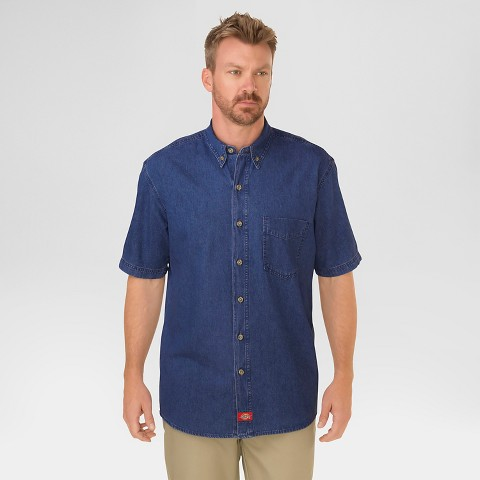 Dickies® Men's Relaxed Fit Denim Short Sleeve Denim Button Down Shirt