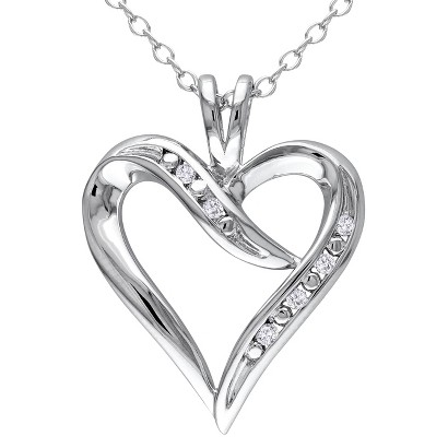 """0.05 CT.T.W. Diamond Heart Pendant With Chain in Sterling Silver (18"""")"""