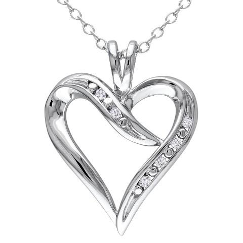 """Allura 0.05 CT. T.W. Diamond Heart Pendant  in Sterling Silver (18"""")"""