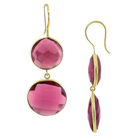 22k Yellow Gold Plated Brass 40ct Synthetic Rhodolite Hook Earrings