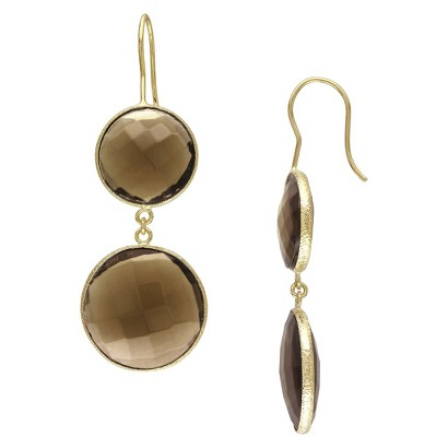 22k Yellow Gold Plated Brass 40ct Smokey Quartz Hook Earrings