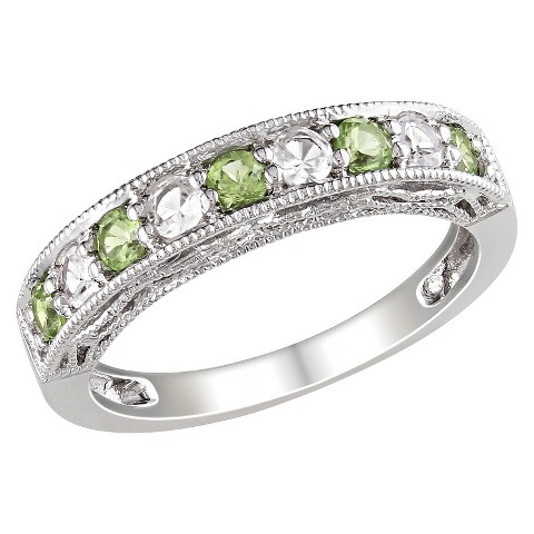 3/4 CT. T.W. Peridot and Created White Sapphire Ring in Sterling Silver