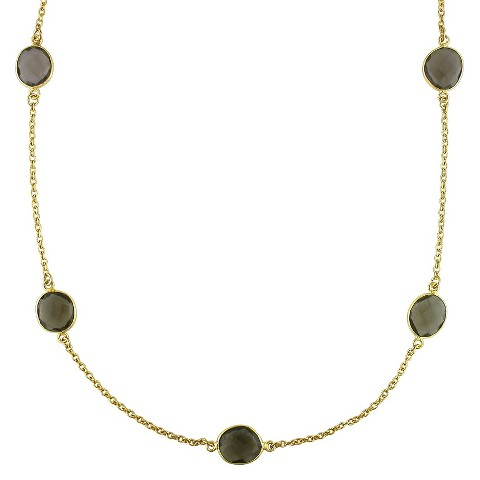 "Allura 42.0 CT. T.W. Smokey Quartz Gem By the Yard Necklace in 22K Yellow Gold Plated (36"")"