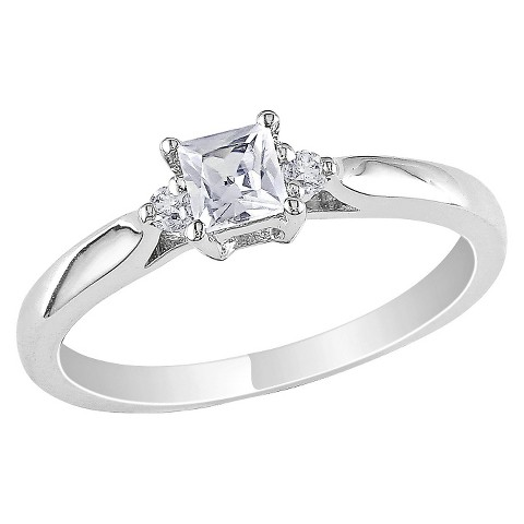 Diamond and 1/3 CT. T.W. Created White Sapphire Ring in Sterling Silver