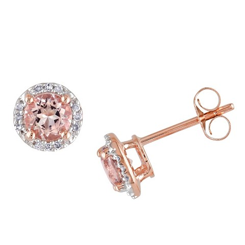Allura Diamond and 1 CT. T.W. Morganite Earrings in 10K Pink Gold
