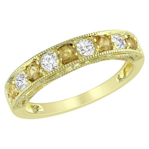 5/8 CT. T.W. Citrine and Created White Sapphire Ring in Yellow Plated Silver