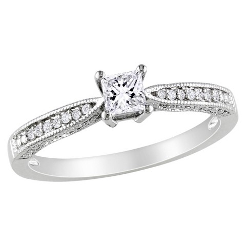 0.06 CT. T.D.W Diamond and 1/3 CT. T.W. Created White Sapphire Ring in Sterling Silver