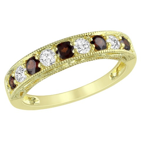 4/5 CT. T.W. Garnet and Created White Sapphire Ring in Yellow Plated Silver