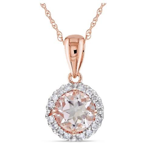 Allura Diamond and 4/5 CT. T.W. Morganite Pendant in 10K RoseGold