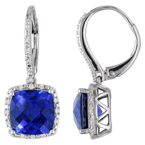 Allura Diamond and 6 1/2 CT. T.W. Created Sapphire Leverback Earrings - Silver