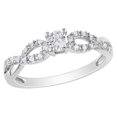 Diamond and 1/4 CT. T.W. Created White Sapphire Ring in Sterling Silver