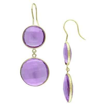 22K Yellow Gold Plated 40.0 CT.T.W Created African Amethyst Hook Earrings