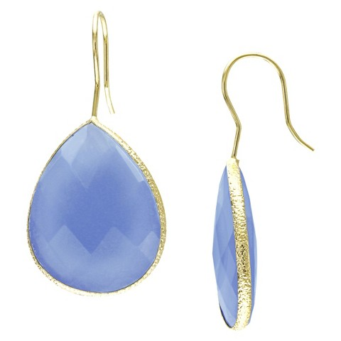 22k Yellow Gold Plated Brass 28ct Blue Calcedony Hook Earrings