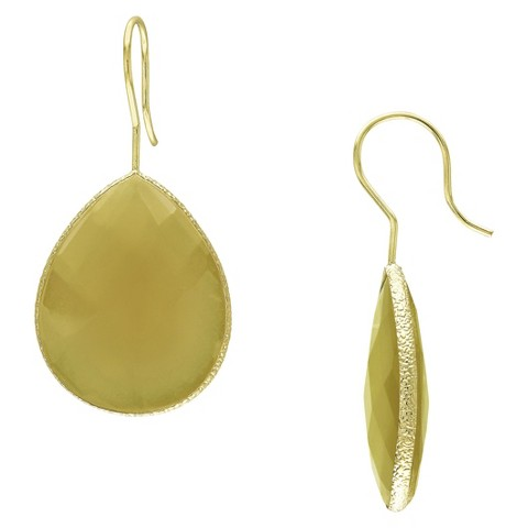Allura 28 CT. T.W. Yellow Onyx Earrings in 22k Yellow Gold Plated Brass