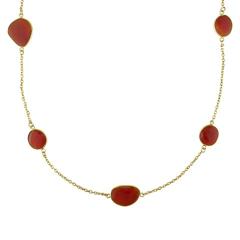 "22K Yellow Gold Plated 42.0 CT.T.W Carnelian Gem By The Yard Necklace (36"")"