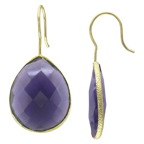 Allura 28 CT. T.W. Created African Amethyst Hook Earrings in 22K Yellow Gold Plated