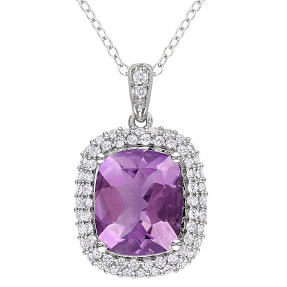 Silver 5 5/8ct Amethyst and Created White Sapphire Pendant With Chain