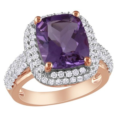 6 CT. T.W. Amethyst and Created White Sapphire Ring in Rose Plated Sterling Silver