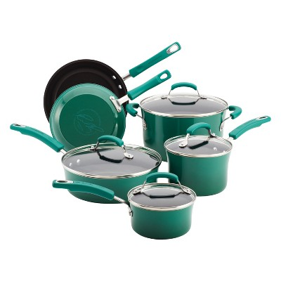 Rachael Ray 10 Piece Porcelain Cookware Set - Green