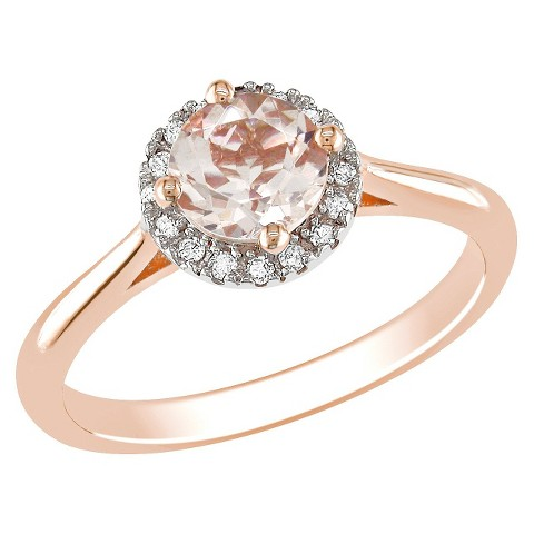10k Pink Gold Diamond and 4/5ct Morganite Ring