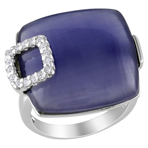 11 CT. T.W. Synthetic Blue Cat Eye & White Cubic Zirconia Ring in Sterling Silver