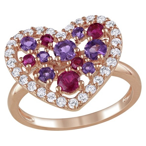 1 3/4 CT. T.W. White Topaz-Ruby and Amethyst Ring in Rose Plated Sterling Silver