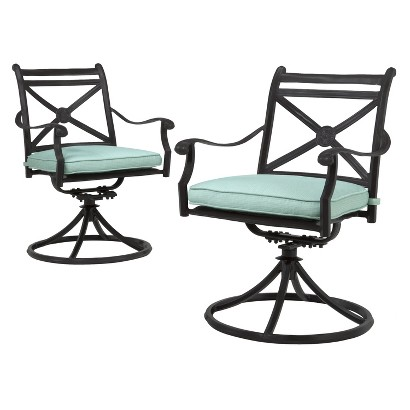 Smith & Hawken® Edinborough 2-Piece Metal Patio Motion Dining Chair Set