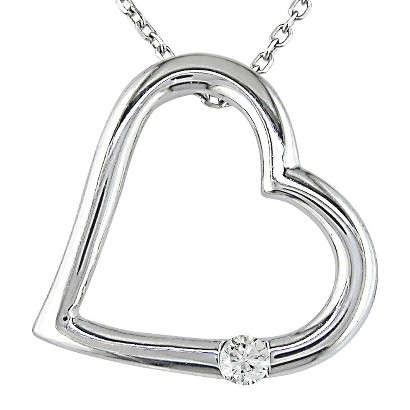 .03 Diamond Heart Pendant 10K White Gold - White/Silver