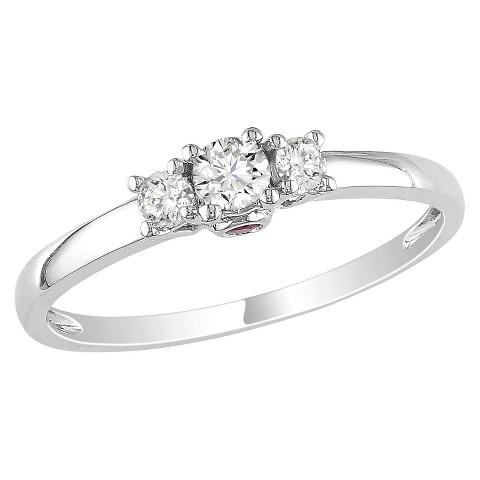1/4 Ct Diamond Ring 14k White Gold - Pink/Silver