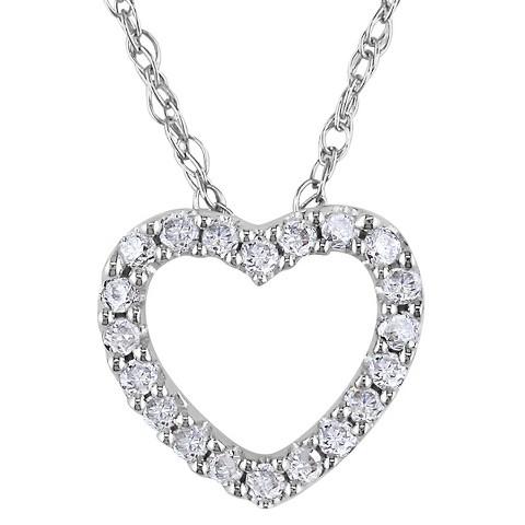 Allura  1/10 Diamond Heart Pendant 10K White Gold