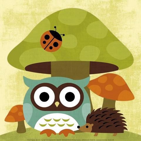 Art.com - Owl and Hedgehog Print