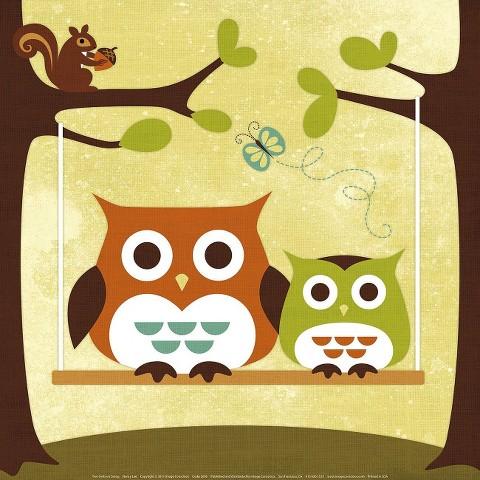 Art.com - Two Owls on Swing