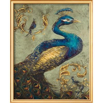 Art.com - Peacock on Sage I Framed Print