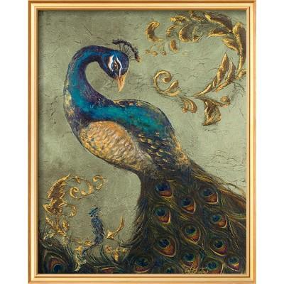 Art.com - Peacock on Sage II Framed Print