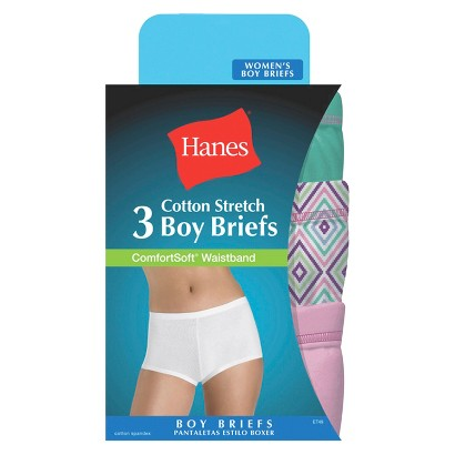 Hanes® Women's ComfortSoft®  Waistband Cotton Stretch 3-Pack Boy Brief ET49AS - Assorted Colors