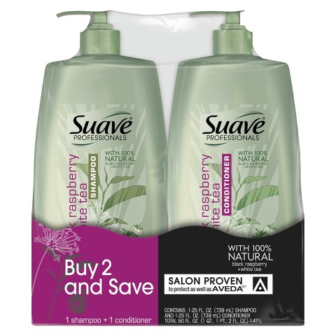 Suave Professionals Black Raspberry & White Tea Shampoo & Conditioner 25 oz, Pack of 2