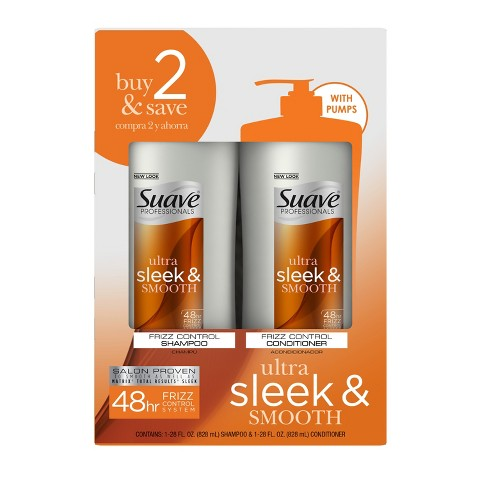 Suave Professionals Sleek Shampoo and Conditioner 25 oz, Pack of 2