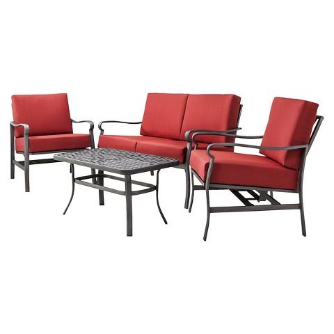 Threshold™ Hawthorne 4-Piece Metal Patio Conversation Furniture Set - Red
